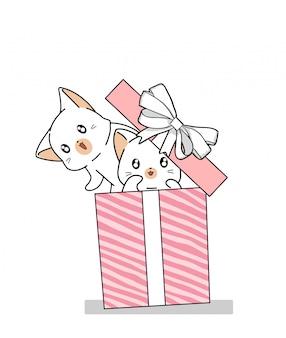 Mão desenhada 2 gatos kawaii na caixa de presente rosa