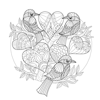 Mão desenhada 3 pássaros e corações