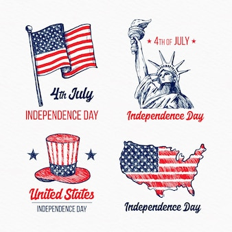 Mão desenhada 4 de julho dia da independência rótulos