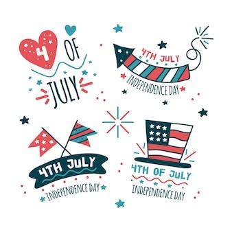 Mão desenhada 4 de julho - rótulos de dia da independência