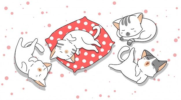 Mão desenhada 4 gatos adoráveis estão dormindo