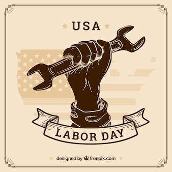 Mão desenhada a composição do dia do trabalho americano