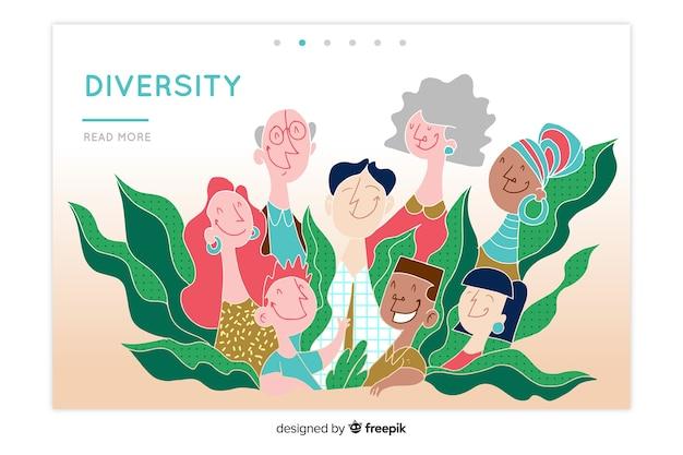 Mão desenhada a página de destino de conceito de diversidade