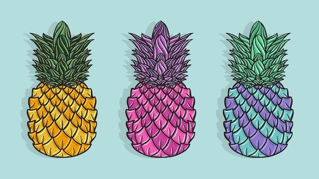 Mão desenhada abacaxis coloridos