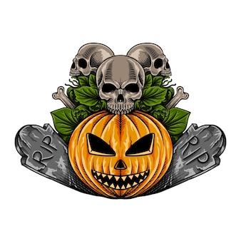 Mão desenhada abóbora de halloween com ilustração de esqueleto