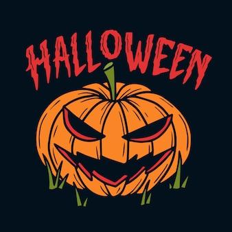 Mão desenhada abóboras com ilustração de letras de halloween