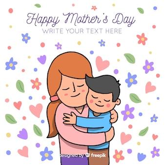 Mão desenhada abraçar o fundo do dia da mãe