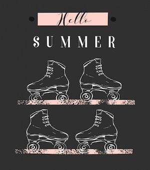 Mão desenhada abstrata ilustração criativa com rolos gráficos e citação de caligrafia moderna olá verão em tons pastel, sobre fundo branco. sinal de conceito incomum moda verão