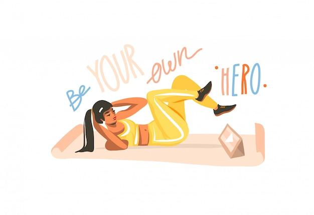 Mão desenhada abstrata ilustração gráfica conservada em estoque com a jovem fêmea feliz na esteira e assistindo o vídeo de treinamento on-line no computador tablet e letras motivacionais, isoladas no fundo branco Vetor Premium