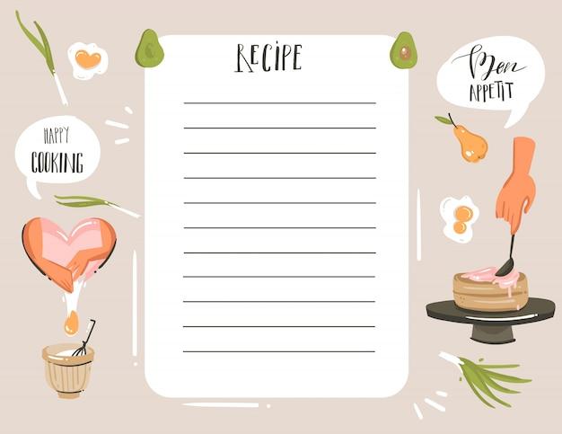 Mão desenhada abstrata moderna dos desenhos animados cozinhar ilustrações de estúdio receita planejador de cartão templete com mãos de mulher, alimentos, legumes e caligrafia manuscrita, isolada no fundo branco