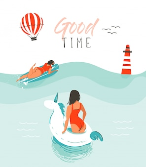 Mão desenhada abstrata verão diversão ilustração com nadar pessoas felizes na água com farol, balão de ar quente, bóia de unicórnio e tipografia moderna citar bom tempo em branco.