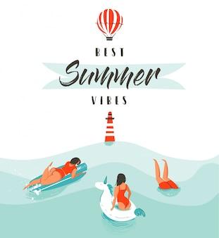 Mão desenhada abstrata verão diversão ilustração com nadar pessoas felizes na água com farol, balão de ar quente e tipografia moderna citar as melhores vibrações de verão isoladas no fundo branco.