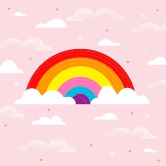 Mão desenhada abstrato arco-íris brilhante