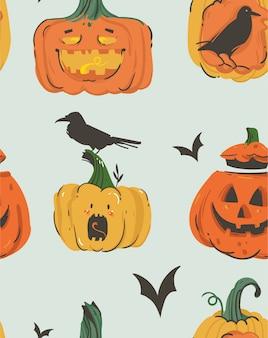 Mão desenhada abstrato dos desenhos animados feliz dia das bruxas ilustrações sem costura padrão com monstros de lanternas com chifres de abóboras emoji, morcegos e corvos em fundo cinza.