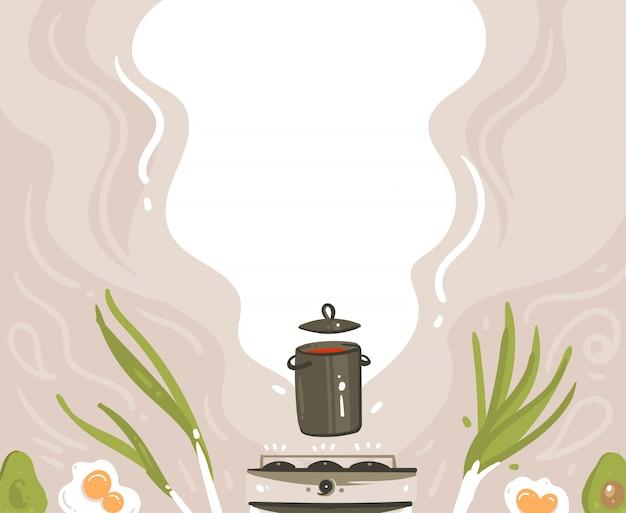 Mão desenhada abstrato moderno desenho animado aula de ilustrações de ilustrações ou menu fundo com a preparação de cena de comida, panela de sopa, legumes e lugar para o seu texto isolado no fundo branco
