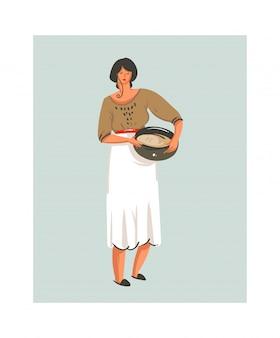 Mão desenhada abstrato moderno desenho animado divertido tempo ícone de ilustrações com cozinha chef mulher de avental branco, preparando biscoitos isolados no fundo branco.