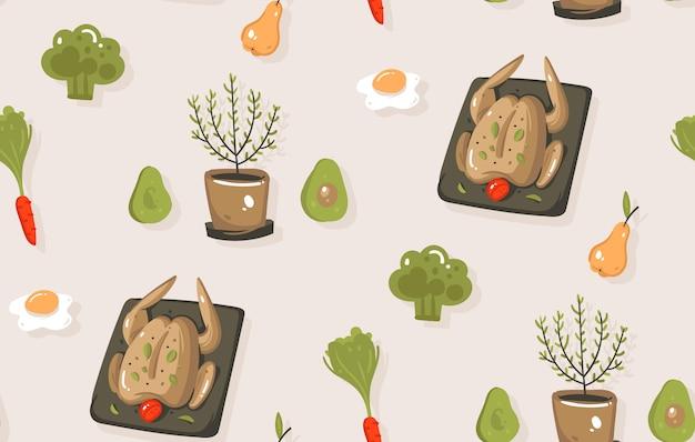 Mão desenhada abstrato moderno desenho animado tempo de diversão ícones ilustrações sem costura padrão com legumes, frutas, alimentos e utensílios de cozinha em fundo cinza