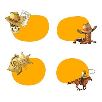 Mão desenhada adesivos de cowboy do oeste selvagem