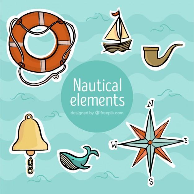 Mão desenhada adesivos náuticas
