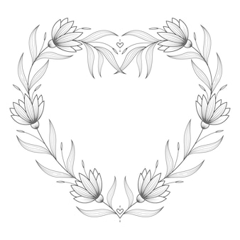 Mão desenhada adorável coração floral