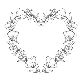 Mão desenhada adorável e ilustração de coração floral de arte de linha