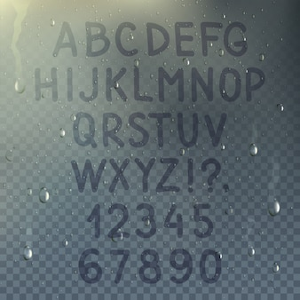 Mão desenhada alfabeto transparente na composição de vidro misted com gotas de chuva sobre a ilustração do vetor de janela