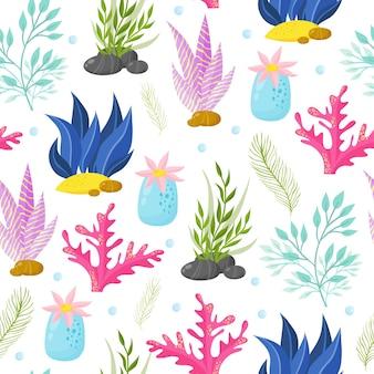 Mão desenhada algas, padrão sem emenda de coral. fundo de plantas marinhas. ilustração vetorial