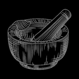 Mão desenhada almofariz e pilão no quadro-negro.