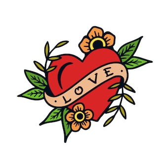 Mão desenhada amor sinal velha escola tatuagem ilustração