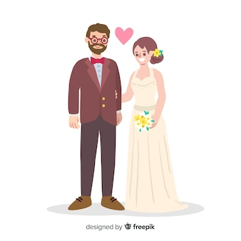 Mão desenhada amorosa casal de noivos