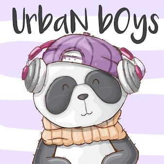 Mão desenhada animal fofo panda-vetor