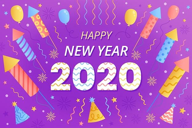 Mão desenhada ano novo 2020 fundo conceito