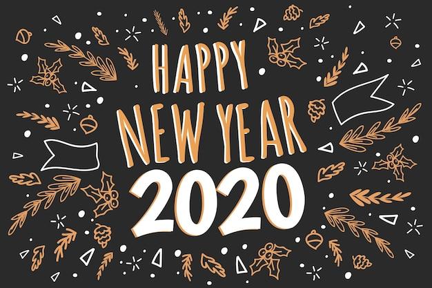 Mão desenhada ano novo 2020 fundo