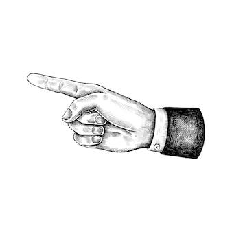Mão desenhada apontando a mão