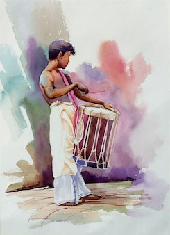 Mão desenhada aquarela artista em ilustração de trabalho