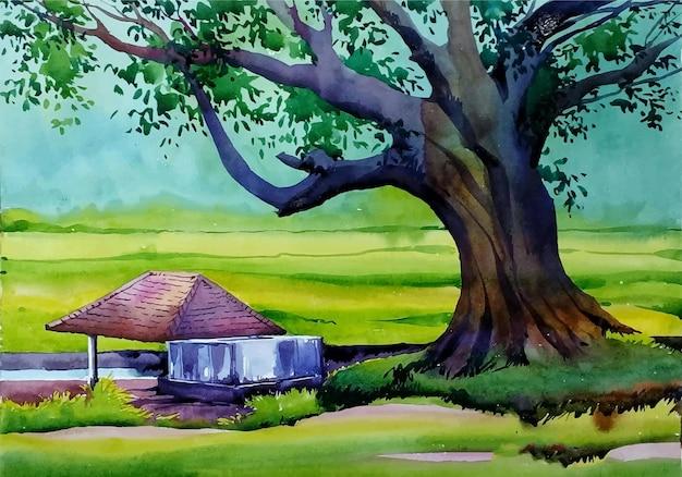Mão desenhada aquarela árvore na ilustração do parque