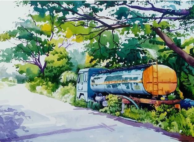 Mão desenhada aquarela caminhão rua na ilustração da cidade
