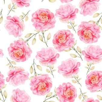 Mão desenhada aquarela floral padrão sem emenda