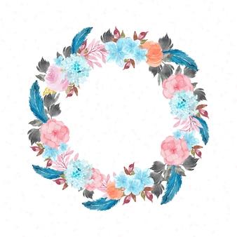 Mão desenhada aquarela grinalda floral com penas azuis