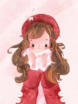 Mão desenhada aquarela linda garota no tema de inverno. ilustração vetorial