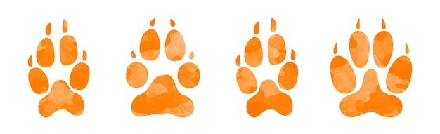 Mão desenhada aquarela pegadas de animais silhueta de uma pata