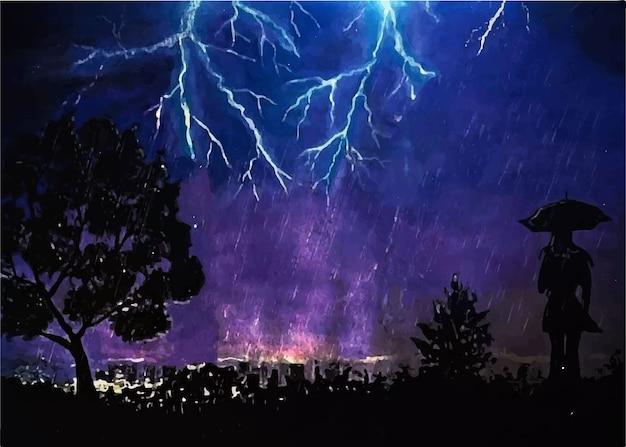 Mão desenhada aquarela relâmpago no céu em uma noite negra