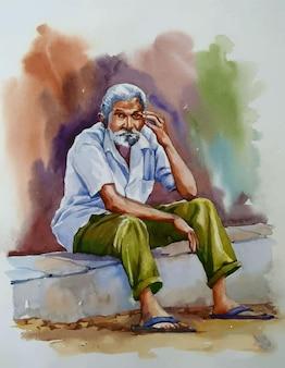 Mão desenhada aquarela sênior homem sentado