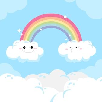Mão desenhada arco-íris e nuvens com rostos