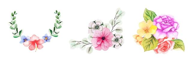 Mão desenhada arte floral em aquarela