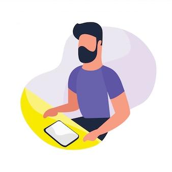 Mão desenhada atividades de pessoas de negócios com propriedades de trabalho