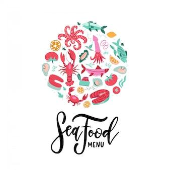 Mão desenhada banner de frutos do mar com letras de menu de frutos do mar. lagosta colorida, salmão, caranguejo, camarão, polvo, lula, amêijoa. composição da borda redonda. objetos de menu deliciosos.