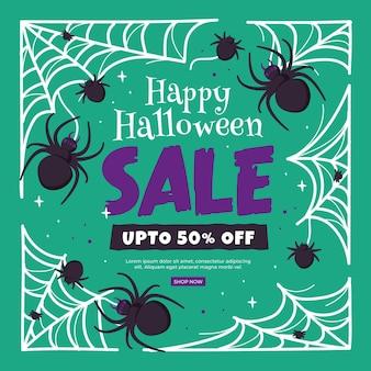 Mão desenhada banner de venda de halloween com aranhas