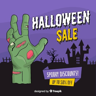 Mão desenhada banner de venda do dia das bruxas