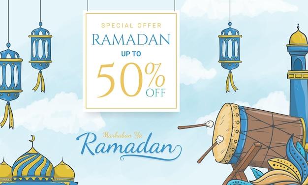Mão desenhada banner de venda do ramadã com ornamentos islâmicos
